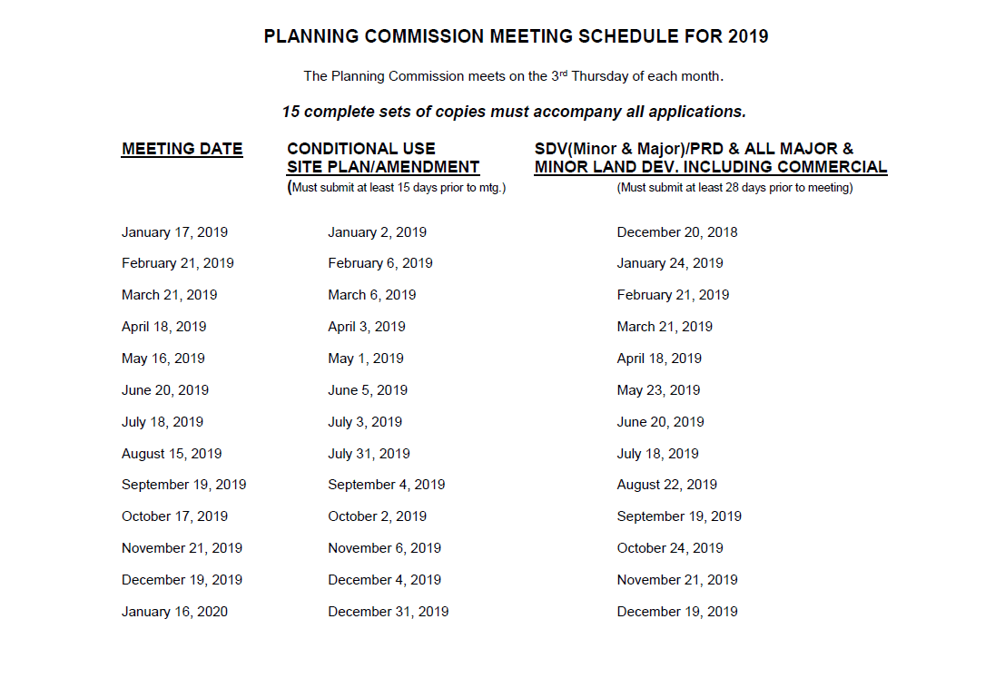Planning Commission Meeting Schedule